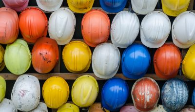 A bunch of hard hats